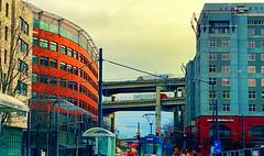 North South I5 (creepingvinesimages) Tags: htt trucks bridge marquambridge interstate i5 outdoors buildings colors red blue southwaterfront portland pdx oregon samsung galaxy s9 pse14 topaz