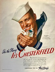 If You're in the Navy, Smoke Chesterfield. (saltycotton) Tags: smoking cigarettes chesterfield military navy sailor vintage magazine advertisement ad 1941 1940s