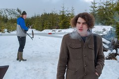 (dylanjamesbaumer) Tags: squint beanie coat blue private barrier theboys shooting guns snowday snow reservoir meadowlakeroad mountains smoking smoke