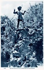 Kensington Gardens - Peter Pan Statue (pepandtim) Tags: postcard old early nostalgia nostalgic kensington gardens peter pan statue fry london glendower hotel place real photograph divided back 35pps43 barrie sir george frampton long water bayswater road royal academy times surprise ducks pipe stump princess margaret 1997