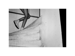blurred memories/stairs (klatzeek) Tags: 35mm yashica zoomate bw summer 2017 legs stairs converse lines atmosphere