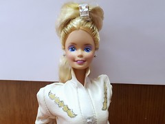 Super Hair Barbie #3101 from 1986 (VintageZealot) Tags: barbie mattel super hair 1980s 80s 1986 3101 vintage retro doll clothing clothes outfit superstar star malaysia model modelling caucasian blonde white gold silver jumpsuit jump suit leather faux pleather jewelry diamond rhinestone crystal ring earrings earring pumps metal snaps sash belt