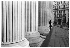 Lady in Black (Adam Lee Guitarist) Tags: london st pauls cathedral church steps pillars shadow figure leica m6 carl zeiss biogon 35mm f28