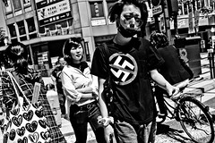 No to Racism!! (Victor Borst) Tags: groen street streetphotography streetlife real realpeople reallife asia asian asians faces face candid travel travelling traveling trip urban urbanroots urbanjungle blackandwhite bw mono monotone monochrome racism no stop osaka japan japanese city cityscape citylife fuji fujifilm xpro2