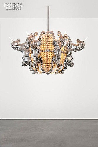 Lamps and Lighting– Home Decor : Designer Stuart Haygarth built this chandelier from  vintage fairground lights a...