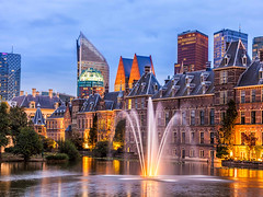 472579508 (edwinhirsch) Tags: novotel vibrantcolor government buildingexterior well dusk politics parliamentbuilding skyscraper illuminated medieval history blue colors famousplace urbanscene fulllength thehague netherlands night sunset sky water monument fountain tower urbanskyline city electriclamp binnenhof ministry