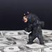Black bear standing on money