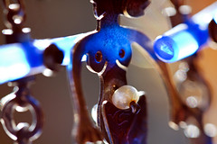 Jewelry (1crzqbn) Tags: jewelry macromondays macro metal pearl mermaid earrings blue bokeh blur refractions thomasmann sunlight light