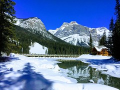 Spring Time in Rockies (Mr. Happy Face - Peace :)) Tags: hff art2019 yoho bc snow spring emerald lake loghouse cans2s mountains trees forest canadaparks canada