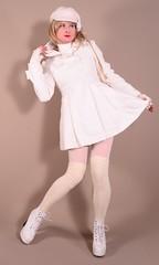 117H5L (klarissakrass) Tags: whitedress crossdress gurl xdress legfashion jacket fashion pinup transgender