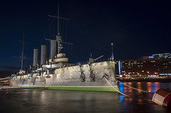 The Famous old cruiser on the guard of St. Petersburg. (vazek2007) Tags: cruiser aurora saintpetersburg cityscape evening night nightcity lights reflections water history ricoh ricohgr gr2 ship