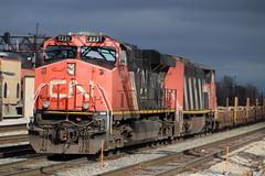 2 engines in a sunbeam (aquascissors) Tags: railroad railway railfanning rail railfan rails trains train canadiannational chicago illinoiscentral southsuburbs cn homewood c408m dash840cm barn cnbarn zebrastripes es44dc cnes44dc