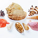 Different colors and shapes of sea shells