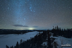 Orion and Snowy Cliff (kevin-palmer) Tags: bighornmountains bighornnationalforest highpark january winter snow snowy cold nikond750 samyang rokinon14mmf28 night sky stars space astronomy astrophotography south orion lenticular cloud trees cliff dark astrometrydotnet:id=nova3143780 astrometrydotnet:status=failed