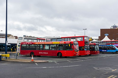 An array of buses at West Bromwich Bus Station (Hope Trains) Tags: mellorstrata alexanderalx400 scaniaomnilink wrighteclipseurban2