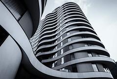 Riverwalk, Millbank (Janet Marshall LRPS) Tags: riverwalk apartments flats condos condominium blackandwhite monochrome mono curves