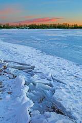 Warm & Cold (stevenbulman44) Tags: calgary ice reservoir sunset horizon landscape 2470f28l lseries canon snow tree outdoor blue sky winter alberta cold pink pattern break