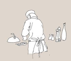 Live Cooking, Osaka, Mannheim, January 2019 (stevefaradaysketches) Tags: mannheim japaneserestaurant cook inkdrawing illustration fineliner onlocation urbansketch urbansketchers usk