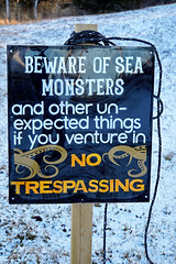 DSC03386 - Sea Monsters!!!!!!!! (archer10 (Dennis) 196M Views) Tags: sony a6300 ilce6300 18200mm 1650mm mirrorless free freepicture archer10 dennis jarvis dennisgjarvis dennisjarvis iamcanadian novascotia canada baxtersharbour winter sign seamonster ruins snow