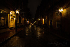 Rain on Anderson St. (Dan and Holly) Tags: lamp wideangle art street water city cityscape 14mm orange light danandhollythompson outside boston wet night red danandhollycom rain home yellow