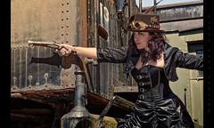 The Wild, Wild Steampunk West (Whitney Lake) Tags: costume woman gun train retro vintage cosplay steampunk