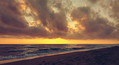 Sundown (born to be an artist) Tags: sea sky clouds sunset sundown bestbeachintheworld goldensand zacharo