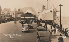 'Orion' in Sydney Harbour, Australia - 1930s (Aussie~mobs) Tags: orion ship circularquay sydney sydneyharbour newsouthwales sydneyharbourbridge 1930s australia vintage vehicles cars automobiles crowd westcircularquay arrival departure rmsorion