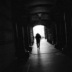 Under the Bull (Dalliance with Light (Andy Farmer)) Tags: sculpture iso1600 cityhall silhouette voightlander35mmf25colorskopar trix leicam6 shadow diafine bullkeystone bw philly film philadelphia pennsylvania unitedstatesofamerica us