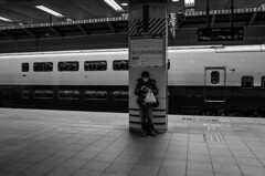 wait (peaceblaster9) Tags: station train platform people wait departure blackandwhite bnw bw blackwhite 駅 鉄道 ホーム 白黒 モノクロ tokyo japan 東京 travel 旅