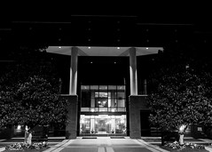 Working At Night (that_damn_duck) Tags: nikon blackwhite monochrome architecture columns building night nighttime tree entrance bw blackandwhite