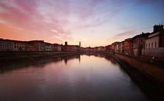 Riverside in Pisa, Christmas 2018 (matteoleoni1) Tags: pisa river fiume arno water tramonto reflection sun light