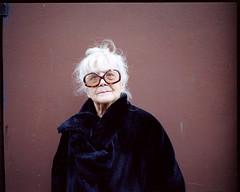 Mireille (AntoineLegond) Tags: portrait woman glasses street mamiya7ii 65mm medium format kodak portra film analogue paris