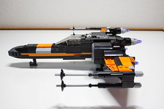 (Improved) Poe Dameron's X-wing: Left View (Evrant) Tags: lego star wars custom x wing t70 t 70 moc bb8 poe dameron black one spaceship starship ship starfighter evrant