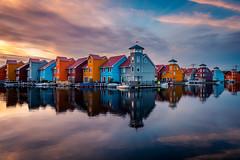 Colors! III (modesrodriguez) Tags: city europe holanda holland netherlands photography travel groningen color houses sky reflection water sunset bucketlist colorful blue orange
