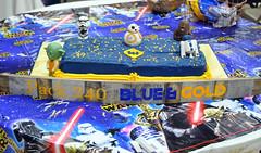 Cub Scouts Blue & Gold Ceremony Star Wars Cake 1 (rikkitikitavi) Tags: custom cake dessert vanilla chocolate buttercream fondant handsculpted handmade starwars r2d2 yoda stormtrooper chewbaca bb8 cubscout blueandgoldceremony bluegoldbanquet