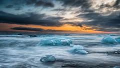 Diamond Beach at Sunset (petebristo) Tags: diamondbeach iceland ice seascape sunset