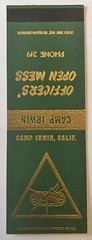 OFFICERS OPEN MESS CAMP IRWIN CALIF (ussiwojima) Tags: fortirwin campirwin officersmess mojavedesert california advertising matchbook matchcover