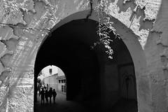 時。光 Time and Light (Singer 晴哥) Tags: canon 6d canonef2470mmf28liiusm 二代鏡 f56 iso100 38mm 1200sec 時光 time 光light 時光隧道 tunnel 回到過去 影shadow 植物plant 路人passenger 孩童children 人person 點景 pov 重心 剪影silhouettes 伊斯蘭 islam 建築 風格 門door 牆wall 明暗對比 井字 對角線 框景frame 對稱中的不對稱的平衡 構圖composition 氛圍atmosphere 機會快門timing snapshot streetsnap street 舊街 街拍 街頭 抓拍 攝影photography 黑白 黑白照 bw black white monochrome 非洲africa 摩洛哥 morocco 馬拉卡治 馬拉喀什 marrakech siao蕭 singer 晴哥