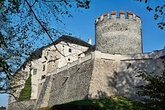 Castle in Bohemia (Yirka51) Tags: grass rampart battlements fort grille wood window wall tree tower stonewall stone sky roof rooftile brick leaves leaf chateau historical historic fall facade czechrepublic centraleurope castle bush building bluesky architecture