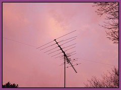 Gathering signals (MoparMadman63) Tags: antenna wire silhouette framed pink colorful clouds sky home neighborhood irvingtx texas nature