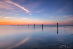 The Fence! (karindebruin) Tags: ellen johan melissant nederland slikkenvanflakkee thenetherlands zonsondergang zuidholland clouds fence hek sunset water wolken