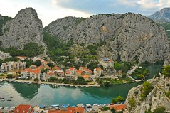 Omis, Cetina River (Antoni Chorąży (Tony)) Tags: croatia city water sea green red blue holiday summer tree landscape ocean forest sky building boat ship nikon ii panorama mountain mountainside grass cliff river new