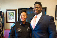 Trevon Sanders honored as Mayor for the Day (North Charleston) Tags: trevonsanders troyuniversity garrettacademy athlete mayorfortheday graduate nflprospect footballplayer noseguard northcharleston southcarolina cityhall mayorsoffice lawenforcement female woman cop police officer sheriff deputy