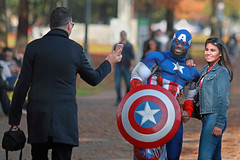 "Picturing ""A"" Captain (Ian Sane) Tags: ian sane images picturingacaptain captainamerica woman posing selfie portrait candid street photography governor tom mccall waterfront park willamette river character superhero portland oregon canon eos 5d mark ii two camera ef70200mm f28l is usm lens"