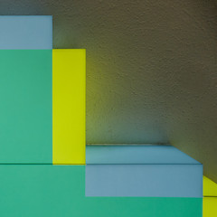 colore (godelieve b) Tags: formes shapes colors couleurs colore light bloc wall mur simplicity abstraction abstract reflection reflet jaune yellow vert green square carré