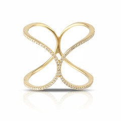 Gently Touching Loops on 18k Yellow Gold Diamond Strands on Artistic Ring (diamondanddesign) Tags: gentlytouchingloopson18kyellowgolddiamondstrandsonartisticring r69981 18k yellow gold doves diamond fashion 018 ct rings front