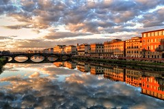 Stand on a bridge over the Arno river several times in a day and the light, mood and view changes every time. (Tenia Prokalamou) Tags: firenze florence arno pontesantatrinita sttrinitybridge