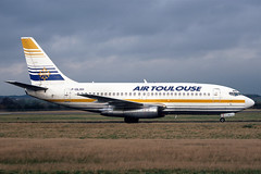 F-GLXH Air Toulouse Boeing 737-2D6(Adv) at Edinburgh in February 1998 (Zone 49 Photography) Tags: aircraft airliner airlines airport aviation plane february 1998 edi egph edinburgh turnhouse scotland sh ais airtoulouse air toulouse boeing737 boeing 737 200 2d6 fglxh