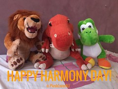 Happy Harmony Day (plushloverau) Tags: dinosaur plush plushie collection stuffed animals toy toys cuddle trex animal alley r us lover au plushloverau motorsports v8 australia abs rectus abdominis muscle holden racing team lion mascot supercars super mario build bear brothers bro nintendo buildabear green international day for elimination racial discrimination orange harmony diversity respect holding hands