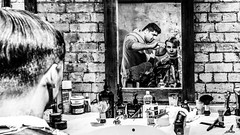 East End barber (Time to try) Tags: barber eastend shoreditch bricklane mono blackandwhite hair haircut olympus em1mk2 spitalfields